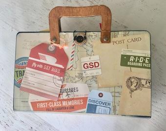Travel/Suitcase Mini Album, for photos, memorabilia, vacation album in primary colors, red, yellow, green, photo album, memory album