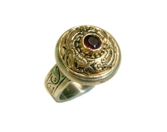 Byzantine Jewelry Ring -Handmade Sterling Silver, 9K Gold Ring