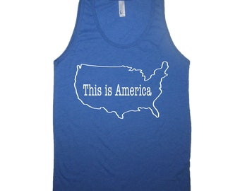 this is america tank top funny 4th of july USA shirt cute mens womens patriotic red white and blue sleeveless merica murica independence day