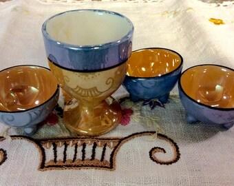 Luster ware egg cup / nut or salt bowls /  3