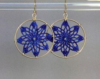 Tavita doily earrings, blue hand-dyed silk thread, 14K gold-filled