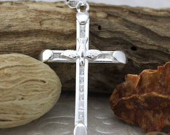 Sterling Silver Cross Necklace, Silver Holy Spirit Cross Pendant, Silver Cross with CZ, Catholic Necklace, Silver Crucifix with CZ, Dove