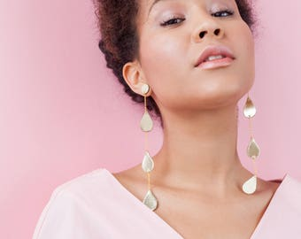 Gold leather three drops chain earrings