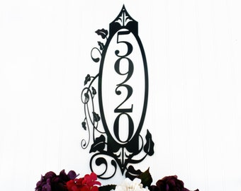 Vertical Outdoor House Number Metal Sign | House Numbers | Address Sign | Custom Sign | Metal Wall Art | Outdoor Sign | Metal Wall Decor