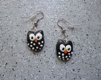 Handmade OWL earrings in polymer clay black and white