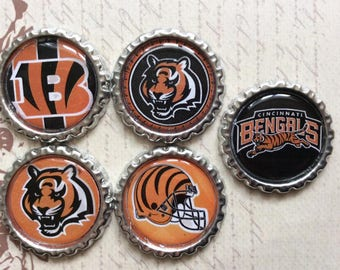 SET of 5 -Cincinnati Bengals Bottle Caps For Pendants, Hairbows Hair Bow Centers - Ready to use