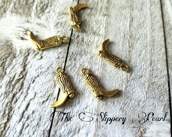 Cowboy Boot Charms Boot Pendants Gold Boot Charms Gold Charms Cowboy Charms Western Charms Gold Boot Pendants Texas Charms 24 pieces