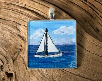 Wearable Art Necklace, Hand Painted Pendant, Beach Necklace, Sailing Pendant, Sail boat Necklace, Seashore Pendant, Beach Pendant