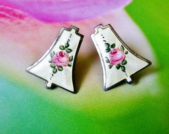 Vintage Guilloche Enamel Pink Rose Bell Shaped Screw On Earrings, Antique Rose Earrings