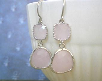 Pink Earrings, Silver Earrings, Blush Earrings, Girlfriend Gift, Bridesmaid Earrings, Best Friend Birthday, Holiday Gift