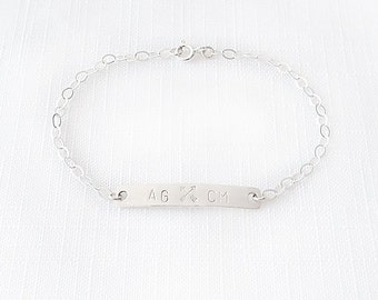 Minimalist Sterling Silver Chain Bracelet - Personalized Monogram Initials - Crossed Arrows - The Basics: Rectangle ID Plate