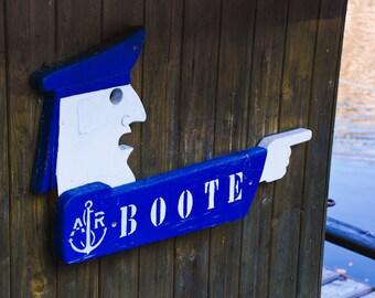 Hallstatt Austria - Lake - Boat Sign - Sailor - Wood Blue White - Fine Art Print - Boote