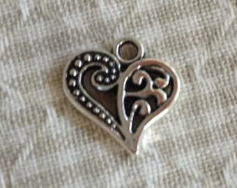 10 Two Sided Heart Charms, Silver Heart Charms, Pendants, Jewelry Making C88