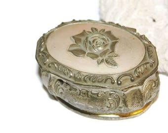 Small Metal Box, Trinket Box with Red Velvet Lining, Stamped Japan, Japan Box, Stash Box, Vanity Accessories