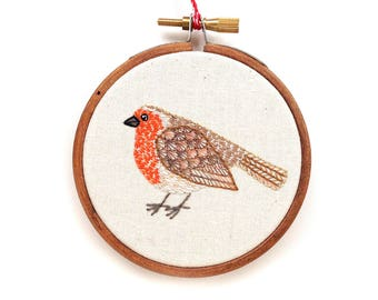 Embroidery Hoop Art Little Robin Ornament