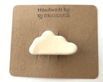 Ceramic cloud brooch