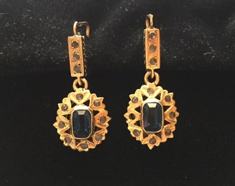 Exquisite Antique 14K Gold Diamond and Sapphire Pierced Earrings