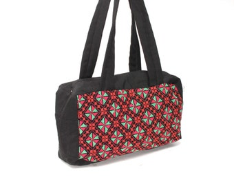 MOSAIC tapestry woven 80s 90s KALEIDOSCOPE zip up purse tote