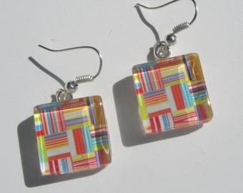 Multicolor Print Earrings, Glass Dangle Earrings, Summer Earrings