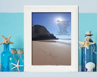 1st Anniversary Gift  Paper Love is Patient Love is Kind Photo- - Birthday Gift for Her - Unique Beach Wedding- 1 corinthians 13 4-7