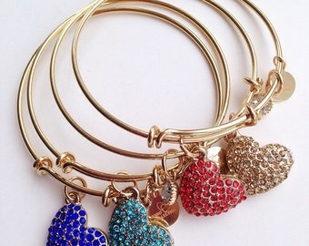 Gold Plated Love Bangle, Love Jewelry, Adjustment Bangle