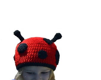 Girls Red Crochet Hat, Ladybug Beanie, Ladybird Beanie, Love Bug, Valentines Hat, Baby Animal Hat, Girls Ladybug Hat, Insect Beanie, Bug Hat