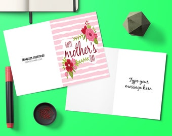 Editable, Pink, Mothers Day Card, Gift for Mom, Baby Shower Gift, Flowers, Mothers Day, Greeting Cards, Mothers Day Gift, Mom Gift, Gift