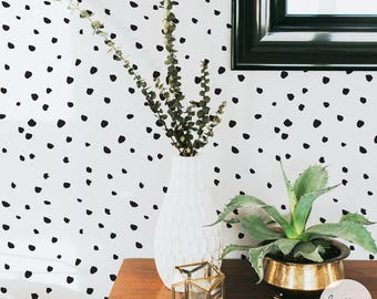 Removable paint dot wallpaper for bedroom interior, traditional or self adhesive material