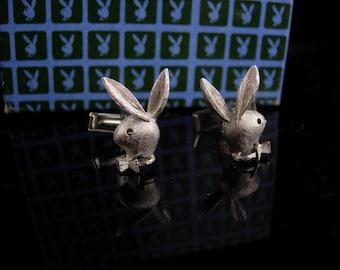 Silver Playboy Bunny Cufflinks - original box - Bachelor party gift - Vintage playboy set - Men's Novelty cufflinks - Clothing Accessory