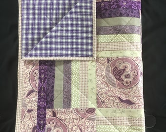 Purple and Silver Floral Lap Blanket, Lap Quilt