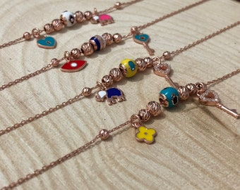 Anklet_Rose Gold & Silver Anklets with charms
