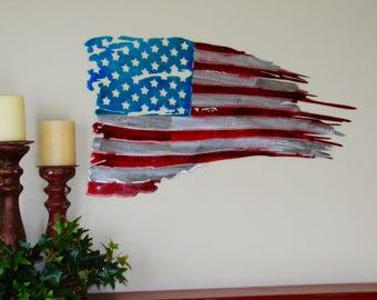 Metal Wall Decor, Metal Wall Hangings, Metal Wall Art Decor, Tattered Flag Wall Art, US Flag Wall Art