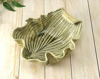 Ceramic Leaf Bowl Handmade Pottery Decorative Celedon Green Porcelain Hosta Accent Dish Handcrafted Fruit Bowl Home Decor, Hostess Gift, 744