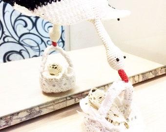 Amigurumi crochet pattern stuart the stork with baby