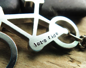 Ride Bike Bottle Opener- Custom Stamped Bottle Opener- Bicycle Keychain Aluminum Silver Key Ring