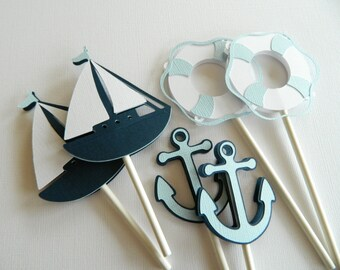 24 Blue Nautical Cupcake Toppers Nautical Baby Shower Nautical Decorations Nautical Birthday Party • Set of 24