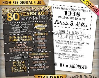 "80th Birthday Invitation, 1938 Invite, Born in 1938 Flashback 80 Years Ago, 80th Invite, 80th Bday 5x7"" Chalkboard Style Digital Printables"