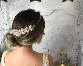Rose Gold Bridal Headband, Gold Wedding headpiece, Bridal Halo, Pearl Hair Band, Frontlet Forehead Hair Jewelry, Rose Gold Hair Accessories