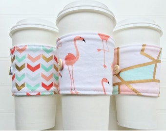 Coffee Cup Cozy, Mug Cozy, Coffee Cup Sleeve, Cup Cozy, Cup Sleeve, Reusable Coffee Sleeve - Pink Flamingo [127-129]