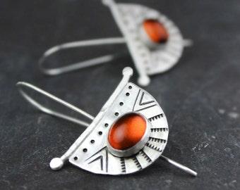 Amber Earrings, Crescent Silver Earrings, Southwestern Stamped Earrings, Half Moon Boho Threader Earrings, Cherry Amber