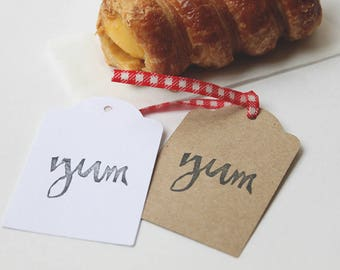 YUM party favour tags, yum gift tags, food thank you tags, yummy favour bag tags,  X 10