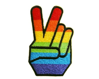 Rainbow Victory Hand Sign Embroidered Applique Iron on Patch 4.3 cm. x 7.2 cm.
