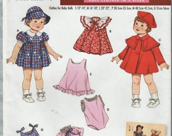 Simplicity Archives 3879 / Reproduction Sewing Pattern / Baby Doll Clothes In Three Sizes