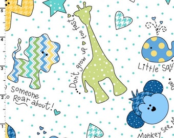 """Little One Flannel Too Fabric """"Tossed Little Ones"""" - Blue Flannel with White Background *** 1 yard 12 inch cut ***"""