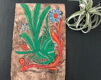 Mexican Folk Art Bird Bark Painting - Tropical decor artwork