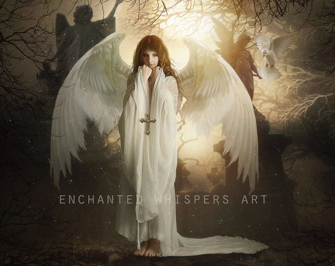 Gothic Graveyard Angel art print by Enchanted Whispers