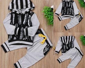 Jumpsuit hoodie boho arrow black gray infant toddler baby boy