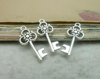 50pcs 10x25mm Antique silver key pendant , key charms Jewelry findings bc7448