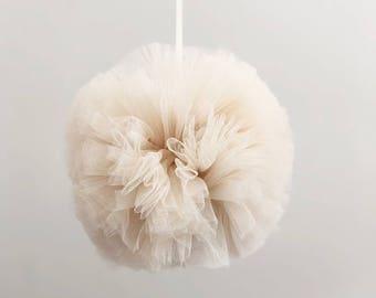 Vanilla tulle pom pom ball. party decor. baby room decor. tulle pom pom wedding decor. garlands and bunting .
