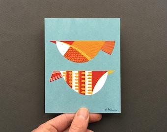 Two Red Birds - Original Screenprint